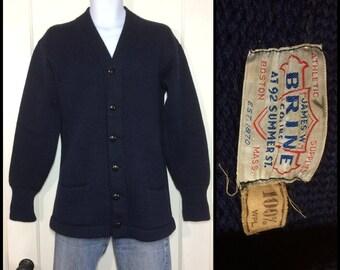 1950s navy blue wool letter varsity stadium cardigan sweater looks size medium by James Brine Co. Boston Mass college school sportswear