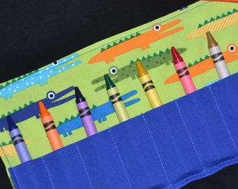 Gator Birthday Party Favor Crayon Roll, little boys party favor, boys birthday gift, crayon holder, alligator, stocking stuffer, travel toy