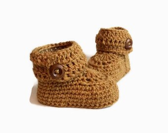 Yellow Crochet Baby Booties Alpaca Wool Newborn Crib Shoes Baby Slippers Knitted Baby Booties Gender Neutral Baby Gift Warm and Woolly Etsy