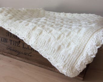 White Crochet Baby Blanket Knitted Baby Blanket White Baby Blanket Crib Blanket Stroller Blanket Gender Neutral Baby Gift by Warm and Woolly
