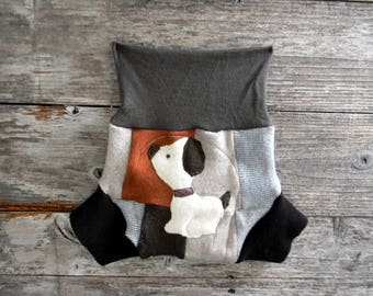 Upcycled Merino Wool /Cashmere Soaker Cover Diaper Cover With Added Doubler Gender Neutral Patchwork With Puppy Applique MEDIUM 6-12M