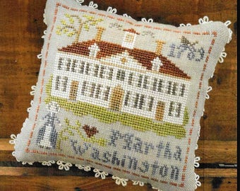Counted Cross Stitch Pattern, Early Americans, No 3, Martha Washington, Little House Needleworks, Cross Stitch Pillow, PATTERN ONLY