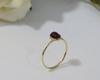 Boho ring, Minimalist ring, Solitaire Ring, Carnelian Ring, Thin Ring, 5x7mm Cabochon 9K Yellow, Rose or White gold, August Birthstone