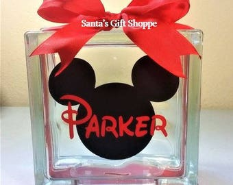 Mickey Mouse w/Name Decal for Glass Block, Bank, Birthday Gift, Christmas Gift,Vinyl Decals, (GLASS NOT INCLUDED) Children/Baby,Nursery