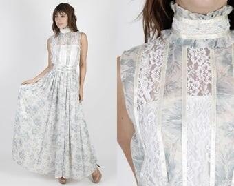 Gunne Sax Dress Boho Wedding Dress Maxi Dress White Dress Bohemian Dress Summer Dress Jessica McClintock Vintage 70s Floral Lace Long Sun M