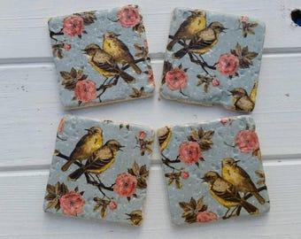 Floral Bird Stone Coaster Set of 4 Tea Coffee Beer Coasters