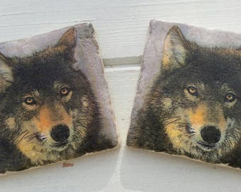 Wolf Dog Stone Coaster Set of 2 Tea Coffee Beer Coasters