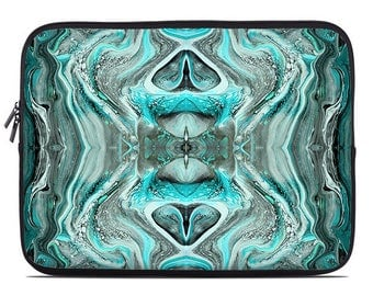 Teal laptop sleeve, turquoise laptop sleeve, abstract laptop case, laptop case, laptop cover to fit 10, 13, 15, 17 inch, gift for men, women