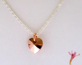 Rose Gold Crystal Heart Necklace, Valentine Necklace, Rose Gold Heart, Sterling Silver, Rose Gold Heart Pendant, Swarovski Heart, Friendship