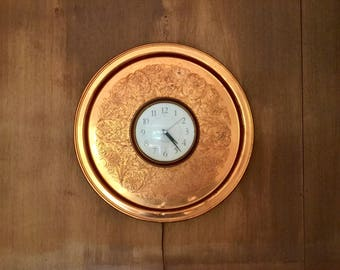 Vintage Copper Westclox Electric Wall Clock Free Shipping !