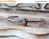ON SALE... Raw Pink Tourmaline Crystal Sterling Silver Cuff Bracelet... Kismet...