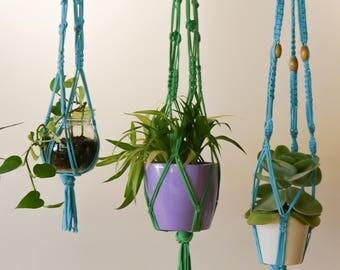 Macrame Plant Hanger - Medium Cyan hanger made with 100% up-cycled t-shirt yarn