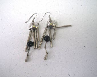 Wind Chime Earrings - Dangly - Silver and Black
