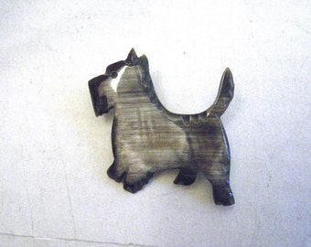 Vintage Scottie Dog Brooch Carved Bakelite Variegated Gray Realistic