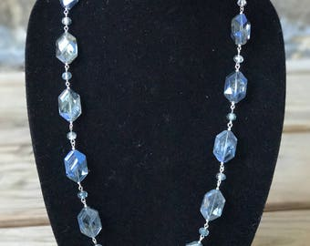 Long blue glass necklace