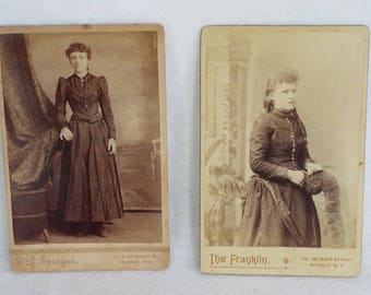 Two Antique Cabinet Card Photographs - Well Dressed Women