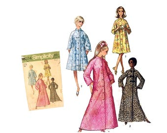 Vintage 70's Misses Bathrobe Pattern Misses Housecoat pattern Robe in Two Lengths Misses Size 16 Simplicity 9074 Sewing Pattern Retro 1970