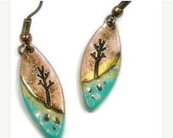 Sale| Teardrop Tree Earrings, Landscape, Copper Patina Metal Tree of Life Dangle Earrings, Tree of Life, Symbolic Tree, OOAK, Woodland, Bohe