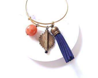 Brass statement cuff//leather tassel bracelet// stackable bracelet bangle//charm cuff