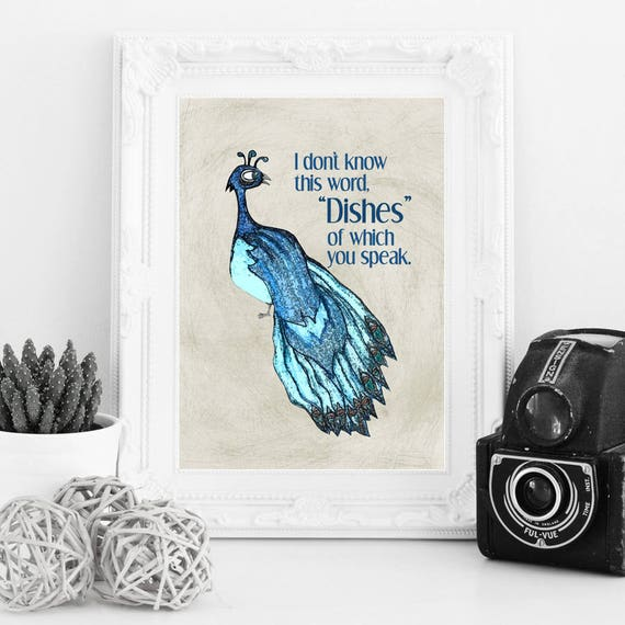 Peacock Dishes Funny Art Print Kitchen Decor By Pithitude