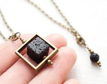 Essential Oil Diffuser Necklace Big Cube in Square Frame Raw Stone Black Lava Diffuser Necklace Lava Stone Necklace Steampunk Mens Necklace