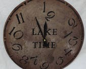12 Inch LAKE TIME CLOCK in Mixed Shades of Gray and Brown with Cream Highlights Jumbled Numbers