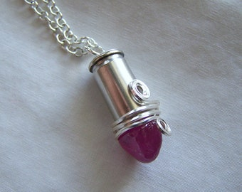 Pink Ruby Gemstone Wire Wrapped Silver Bullet Pendant Necklace
