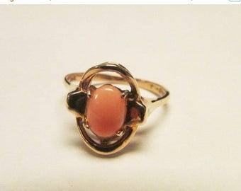 On Sale Vintage Estate Dainty 10KT Pink Coral Ring