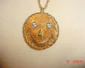Vintage Smiley Face Necklace With Dangling Rhinestone Eyes  18 - 1020
