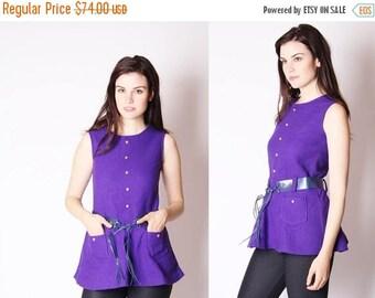 On SALE 45% Off - Deadstock 1960s Top - 60s Tops - Vintage 60s Mod Top - Purple Top - 1960s Deadstock - Vintage NOS - 2594