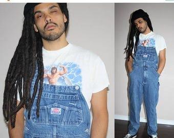 On SALE 35% Off - 90s VTG  Blue Jean Oversize Hip Hop Denim Overalls - 1990s Vintage Overalls - 90s Clothing - MV0408