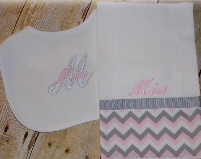 Baby girl monogrammed bib and burp cloth set - Baby girl shower gift - Gray and pink chevron - personalized bib - Monogrammed baby set - bib