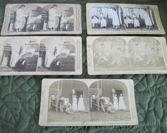 5 Antique Vintage Stereoscopic Stereoview Cards Some Comical Circa 1880 thru 1894