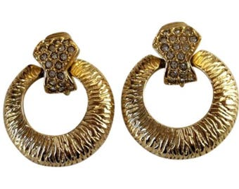 Vintage GIVENCHY Crystal And Gold Door Knocker Clip-on Earrings - 1980's