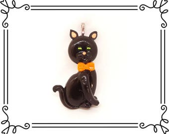 Cold Porcelain Clay Black Cat Pendant, Black Kitty Charm, Halloween Black Cat Ribbon Necklace/ DIY Halloween Jewelry, Gift