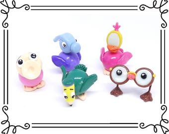 Cold Porcelain Clay Alice in Wonderland Birds Figurines Set, Cake Toppers, Pencil Bird, Hammer Bird, Horn Duck, Mirror Bird, Glasses Bird