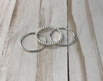 Stacking ring past present future sweetest day rings sterling silver-Free Shipping anniversary rings