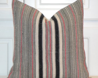 VINTAGE Hemp Tribal Decorative Pillow Cover - Fit 18 x 18 - Stripe Accent Pillow - Toss Pillow - Hill Tribe Decor