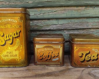 Vintage Cheinco Tin Canister Set ( set of 3)