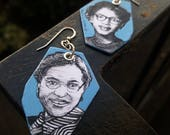 Rosa Parks and Claudette Colvin hand-painted civil rights leaders historic Figure earrings