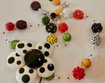 "Artisan OOAK 32"" Necklace -Multi Color Kazuri Beads -A SHOWSTOPPER - 4"" Vintage Black and White Flower Brooch- Swarovski Crystals"