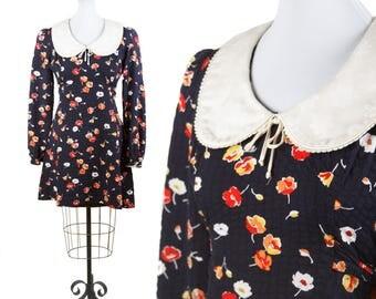70s BOBBIE BROOKS—Noir Floral Baby Doll Dress—Long Sleeves—Peter Pan Collar—Size 8