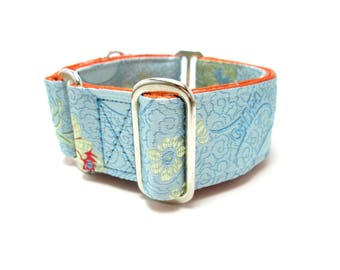 """Houndstown 1.5"""" Blue Haze Unlined Martingale or Buckle Collar Size Small, Medium, Large, X-Large"""