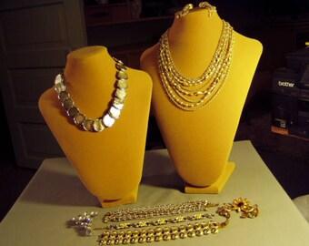 Vintage Lot Kramer Signed Necklaces Wide Chunky Bracelets 2 Rhinestone Pins 2 Prs Earrings 9276