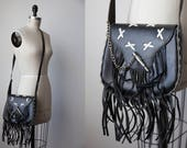 Vtg 80s Black Leather Saddle Stitched Leather Biker Bag with Bullet Chain Closure and Fringe