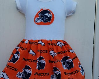 Size 3-9 Months Orange Denver Broncos NFL Onesie Dress  READY to Ship