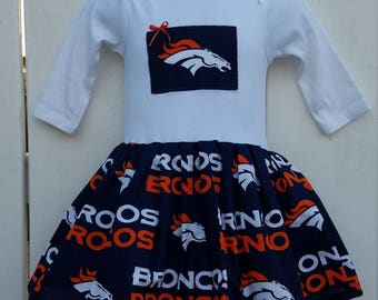 Size 6-9 Months Denver Broncos NFL Long Sleeve Onesie Dress  READY to Ship