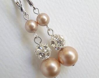 champagne Pearl Earrings, Bridal rhinestone Earrings, Bridal pearl Earrings, Wedding Pearl Earrings, pearl rhinestone earrings, CLAIRE