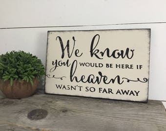 Wedding Memorial Sign- In Loving Memory Wedding Sign -  We Know You Would Be Here if Heaven Wasnt So Far Away - Rustic Wedding Sign