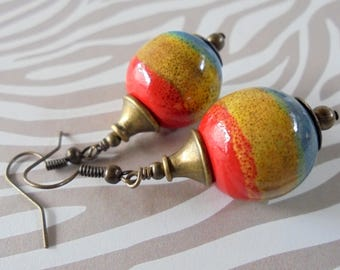 Red, Mustard Yellow and Country Blue Ceramic and Brass Earrings (4074)